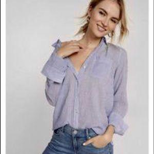 Express Blue Striped Boyfriend Shirt
